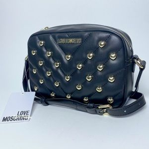 Love Moschino Heart Quilted Studded Crossbody Bag